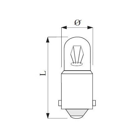 Ba9s patice T9x23 220/240V neon 1 žárovka uvnitř