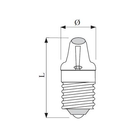 E10 závit lens-end 9x23 2,2V 300mA 0,66W C-2R