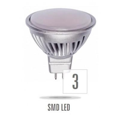 LED MR16 GU5,3 12V 6W SMD 5630 15LED studená bílá  mléčná     stříbrná