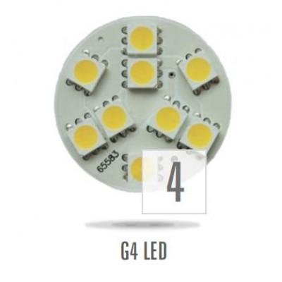 LED G4  12V 1,8W 9LED teplá bílá 30mm back pin