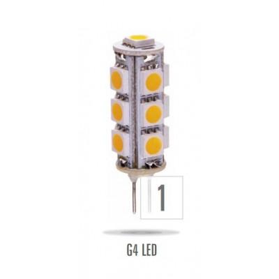 LED G4 sloupek 12V 1,5W 13LED studená bílá 11x43mm