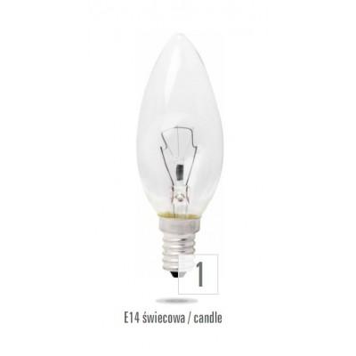 Svíčka   E14 60W čirá (zdroj není určen pro svícení v domácnosti)