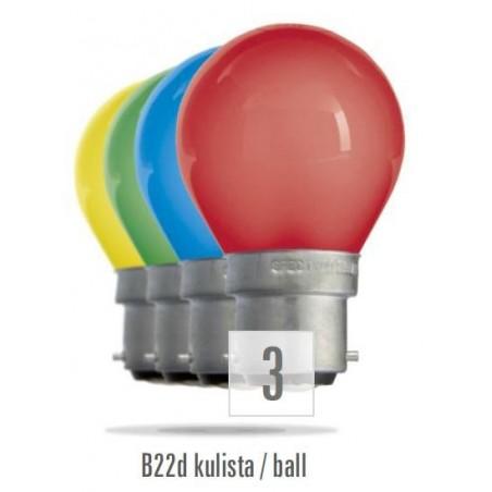 Koule  B-22D 230V/15W červená (zdroj není určen pro svícení v domácnosti)