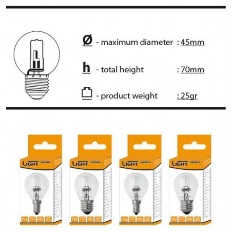 Halogenová úsporná žárovka mini BULB  E27 42W jako 60W 220V