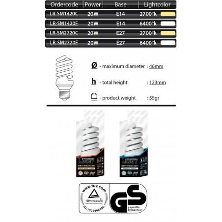 Úsporná žárovka Mini Spiral E27 20W 2700°K