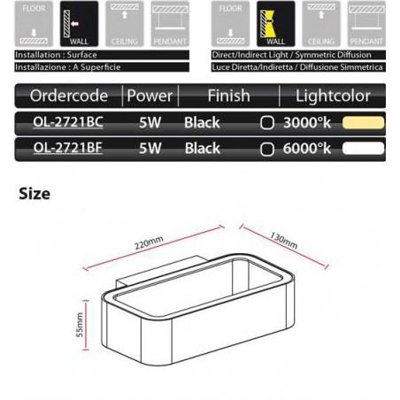 LED nástěnné svítidlo venkovní 5 W 3000°K 220-240V 50-60Hz 40.000h