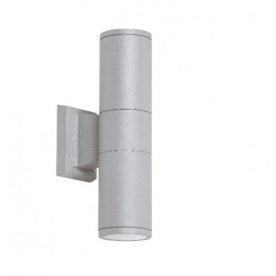 Venkovní svítidlo – nástěnné, IP54, pro zdroje s paticí 2xGU10 (max. 58 x 60 mm), stříbrné. Provedení hliník.