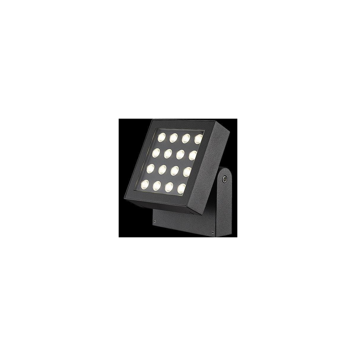 Venkovní svítidlo LED – nástěnné, reflektor, naklápěcí, IP65, barva černá. Provedení čirý polykarbonát.