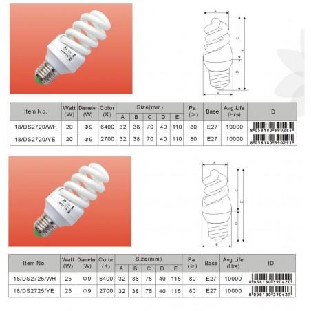 Úsporná žárovka spirála E14 25W 6400°K