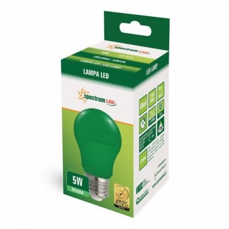 LED GLS  E-27 230V 5W zelené spektrum