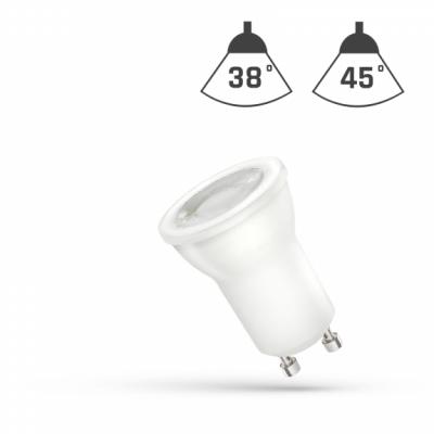LED MR11 GU10 230V 2W SMD 45° studená bílá 6000 - 7000K (bílé světlo) s čočkou
