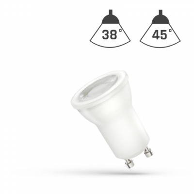 LED MR11  GU10 230V 4W SMD 38° teplá bílá 2700 - 3300K (žluté světlo) s čočkou