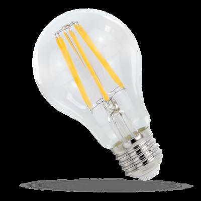 LED GLS E-27  230V 9W COG čip na skle teplá bílá 2700 - 3300K (žluté světlo) čirá