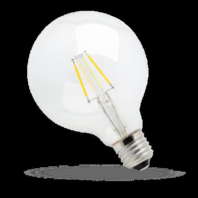 LED GLOB G95 COG čip na skle  E-27 230V 4W teplá bílá 2700 - 3300K (žluté světlo) čirá