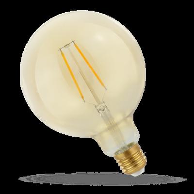 LED GLOB G125 E-27 230V 2W COG čip na skle teplá bílá 2700 - 3300K (žluté světlo) retro záře