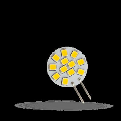 LED G4 12V 1,2W 12 LED teplá bílá 2700 - 3300K (žluté světlo) 20mm placatá