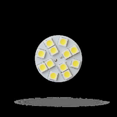 LED G4  12V 1,5W 12 LED teplá bílá 2700 - 3300K (žluté světlo) 20mm zadní výstup (back pin) placatá