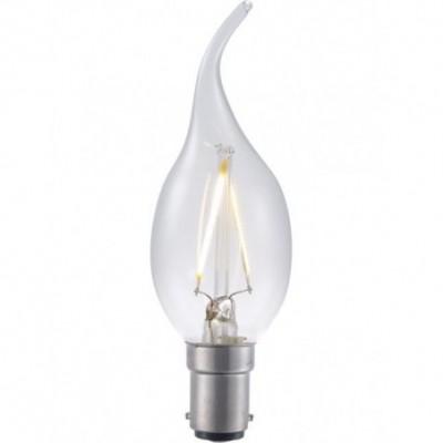 LED Ba15d svíčka vlákno C35x120mm 230V 180Lm 2W 2700K 827 360° AC čirá není stmívatelná