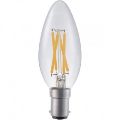 LED Ba15d svíčka vlákno C35x100mm 230V 320Lm 4W 2500K 925 360° AC čirá stmívatelná