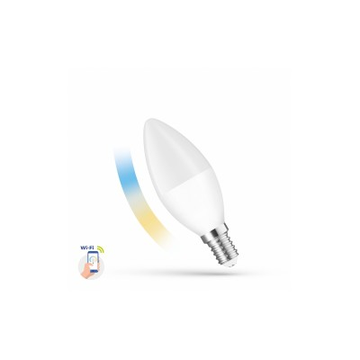 LED stmívatelná žárovka C38 5W E-14 230V CCT (3000K-6500K)+DIM Wi-Fi SMART