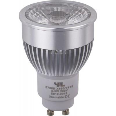 LED GU10 MR16 COB PMMA 50x71mm 230V 400Lm 5.5W 2700K 827 38° AC stříbrná, stmívatelná